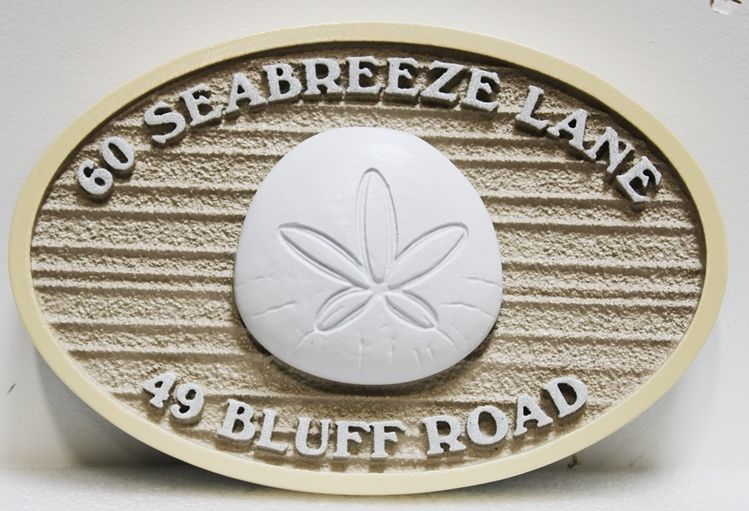 """L21513 -  Carved and Sandblasted 3-D Bas-relief HDU Coastal Residence Address Sign """"60 Seabreeze Lane"""", with a San Dollar as Artwork."""