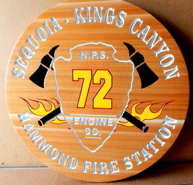 X33896- Engraved Cedar Wood Plaque for Fire Station of Sequoia and Kings Canyon National Parks.
