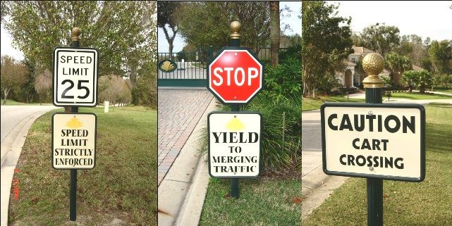 """M4303 - ThreeExamples of Signs Mounted on Fluted Round 3"""" Diameter Aluminum Posts without Bases but withGolf Ball Finials"""