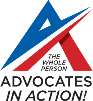 Blue and Red Stylized A in logo for Advocates in Action