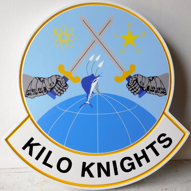 "MP-2360 - Carved Plaque of the Insignia of a Unit ""Kilo Knights"" of the US Army,  Artist Painted"