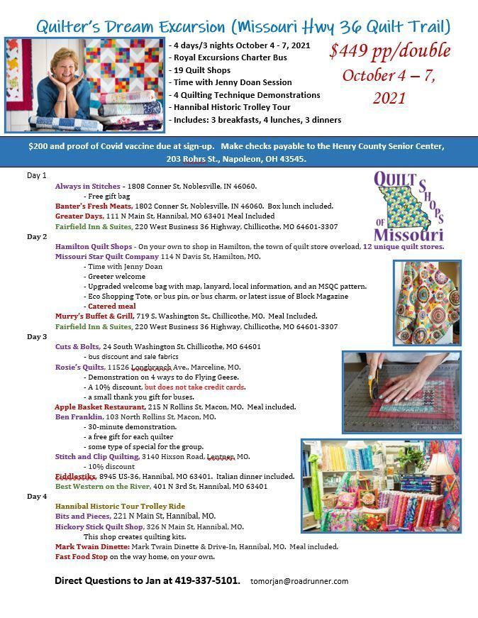Quilter's Dream Trip Oct. 4-7