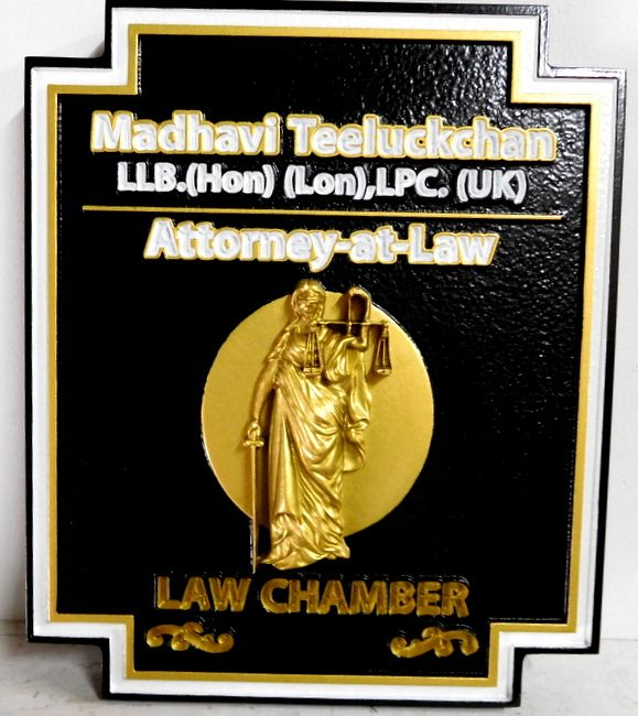 M7342 - Attorney's Sign with Carved 3D Gold-Leaf Lady Justice