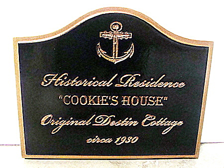 F15440 - Carved, Engraved HDU Sign for Historical Home with Ship's Anchor, Black with Gold Leaf