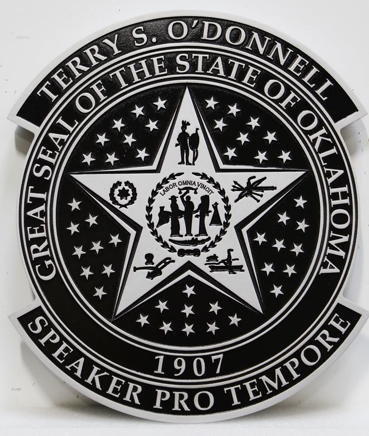 BP-1454 - Carved 2.5-D Wall Plaque of the Seal of the Speaker Pro Tempore of the State of Oklahoma