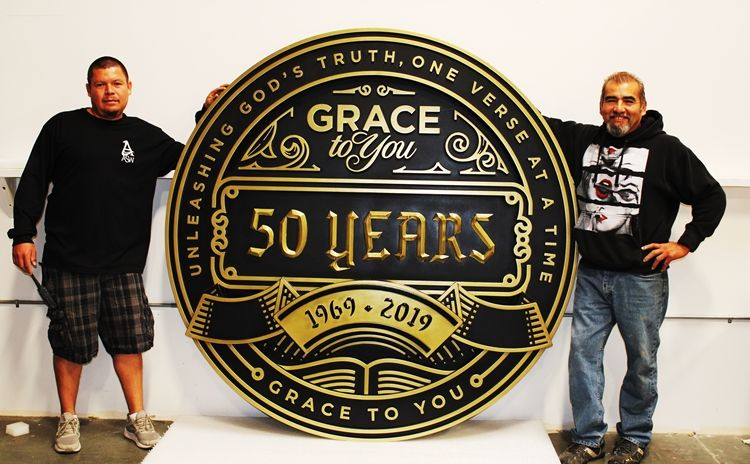 D13202 - Large Elegant Carved HDU Plaque Commemorating Grace Church's 50th Anniversary, 3-D Brass-plated
