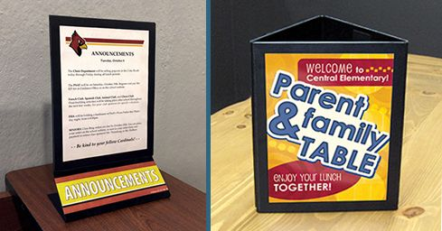 Table top paper holders, 2 versions, custom signs, school signs, announcements, magnetic seal