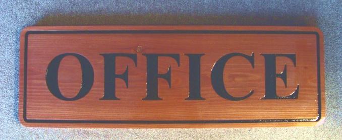T29402 -  Carved Engraved Western Red Cedar Office Sign