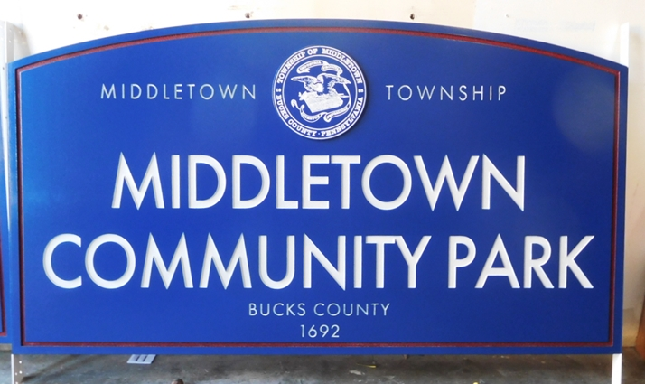 GA16486 - Carved Engraved  HDU  Sign for the Middletown Community Park, 2.5-D Artist-Painted
