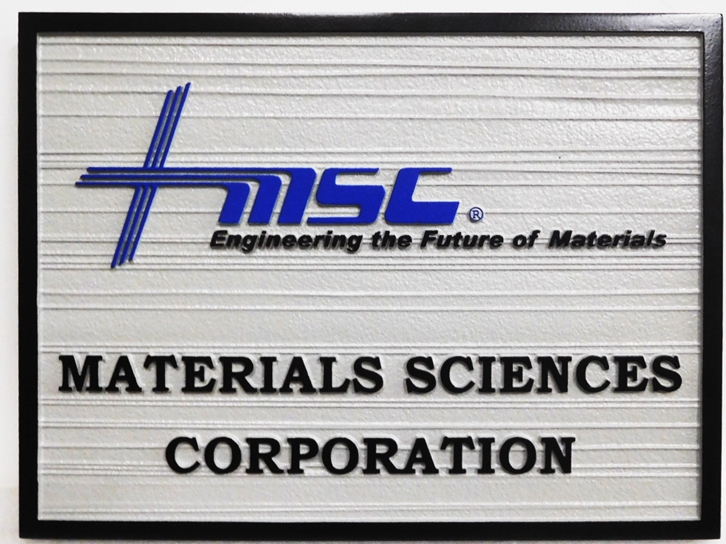 "S28033 - Large Carved and Sandblasted Wood Grain HDU Commercial Sign made for the ""Materials Science Corporation"" , 2.5-D Artist-Painted"