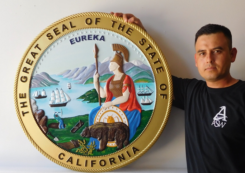W32025 -Carved 3-D, Artist-Painted, Seal of the State of California Wall Plaque