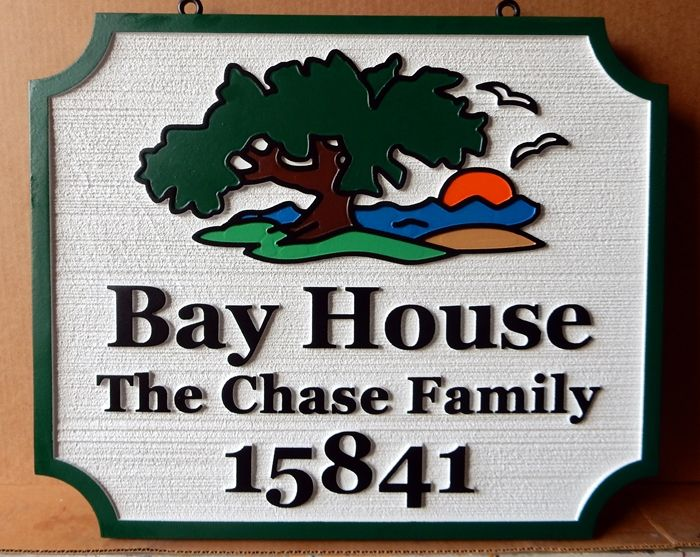 L21230 - Carved and Sandblasted Coastal Residence Address Sign, with Tree and Setting Sun