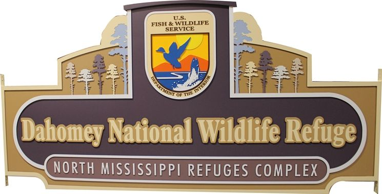 G16031 -  Large  Carved HDU  Dahomey National Wildlife Refuge Sign
