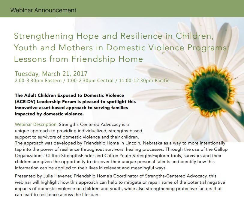 Strengthening Hope and Resilience in Children, Youth, and Mothers in Domestic Violence Programs: Lessons from Friendship Home webinar