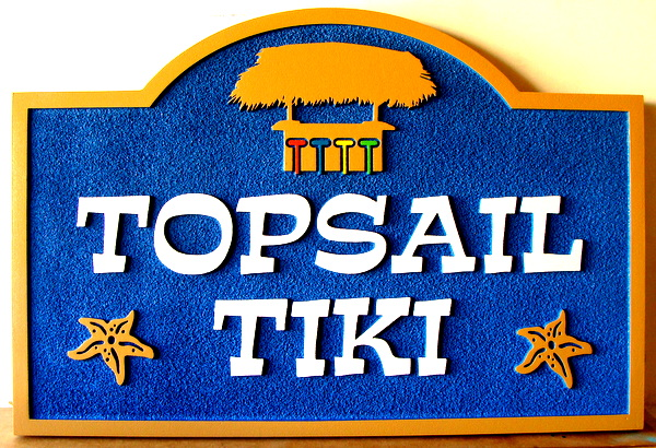 """L21973 - Carved and Sandblasted 2.5D HDU Sign, """"Topsail Tiki"""", with Starfish & Bar Hut"""