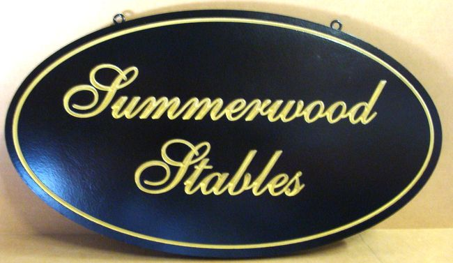 """P25031 - Elegant Engraved Equine Farm Sign, """"Summerwood Stables,"""" with Script and Gold Leaf"""