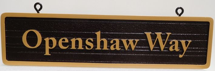 H17023 - Carved and Sandblasted Wood Grain Atreet Name Sign, Raised Text and Border