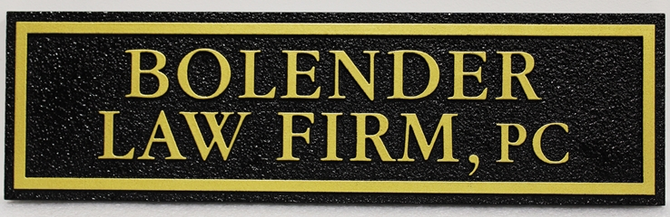 A10350 - Carved and Sandblasted HDU Sign for the Bolender Law Firm, PC.,