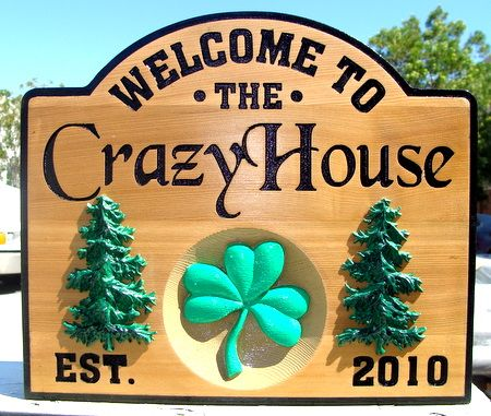 M22066 - Engraved Cedar Property Name Plaque with Carved 3D Appliques ( Spruce, Clover)