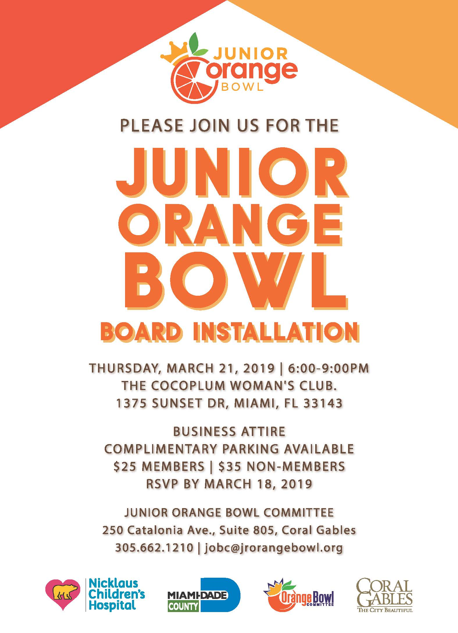 Join Us for the Junior Orange Bowl Board Installation