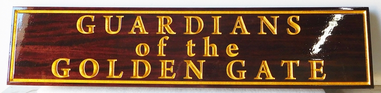 "Z35142 - Mahogany Wall Plaque for the ""Guardians of the Gate""  features Engraved V-carved Border and Text  with 24K Gold"