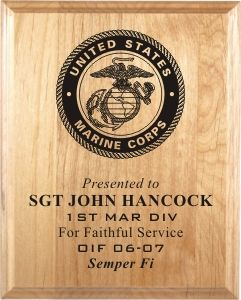 KP-3060 -  Carved Personalized Recognition Plaque,US Marines Corps, Maple Wood with Engraved Seal