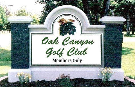 M6733 - Custom Golf Club Entrance Sign, with 3D Oak Leaf Cluster and Sandblasted Pillar Panels