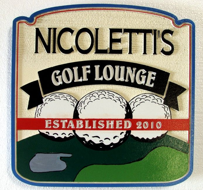 E14640 - Golf Lounge & Bar Indoor Wall Plaque