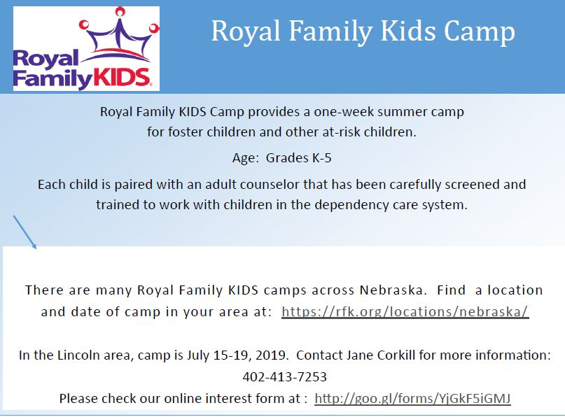 Royal Family Kids Camp-Lincoln area