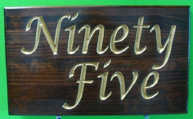 """KA20880 - Carved Stained Cedar Wood Sign with Street Number Written in 24K Gold Leaf  """"NINETY-FIVE"""""""