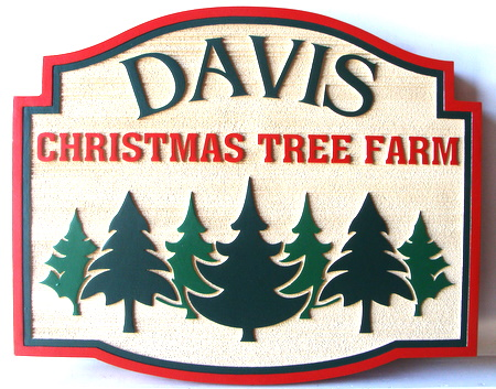 M22082- Sandblasted Wood Evergreen (Christmas Tree) Sign