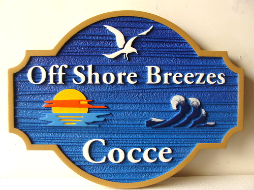 "L21646 - Sandblasted 2.5-D Coastal Residence Sign, ""Offshore Breezes"", with Seagull, Surf and Sunset"