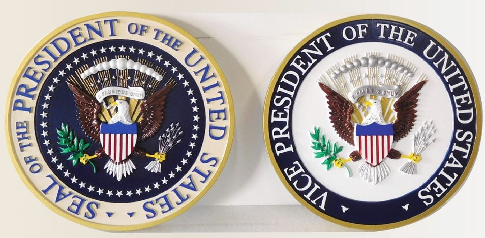 U30095 - Carved 3-D Bas-relief HDU Wall Plaques  of the Seals of the President and Vice-Presidents of the United States.