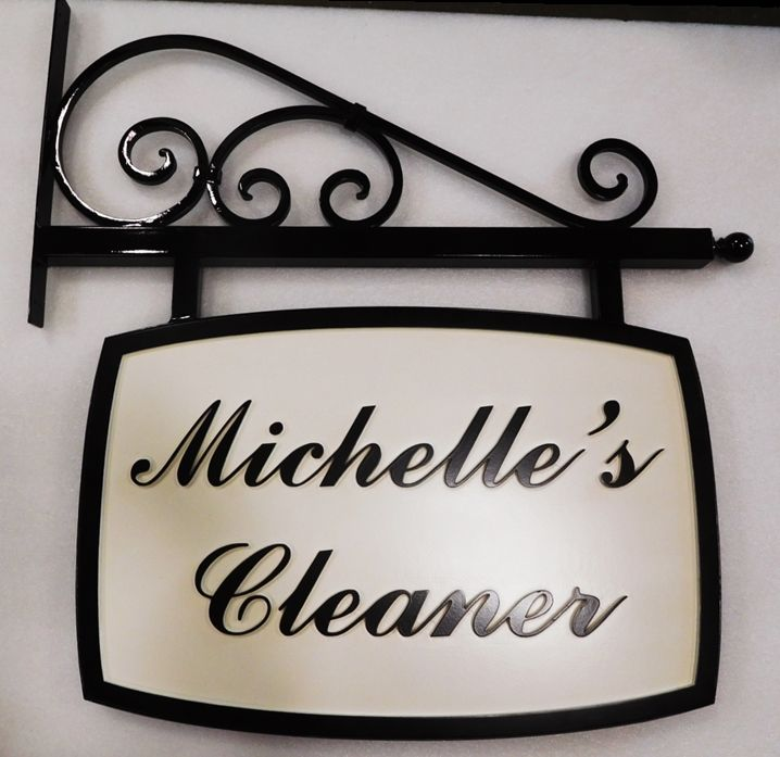 """SA28575 - Carved Sign for  """"Michelle's Cleaner"""" Business, with Wrought Iron Scroll Bracket"""