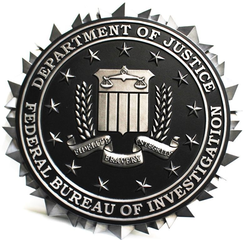 U30363 - Carved 3-D Aluminum-Plated Plaque of the Seal of the FBI,  Department of Justice