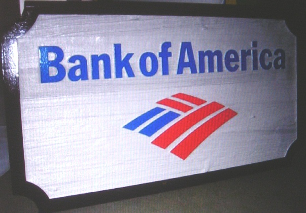 C12215 - Sandblasted Wood Wall Sign for Bank of America