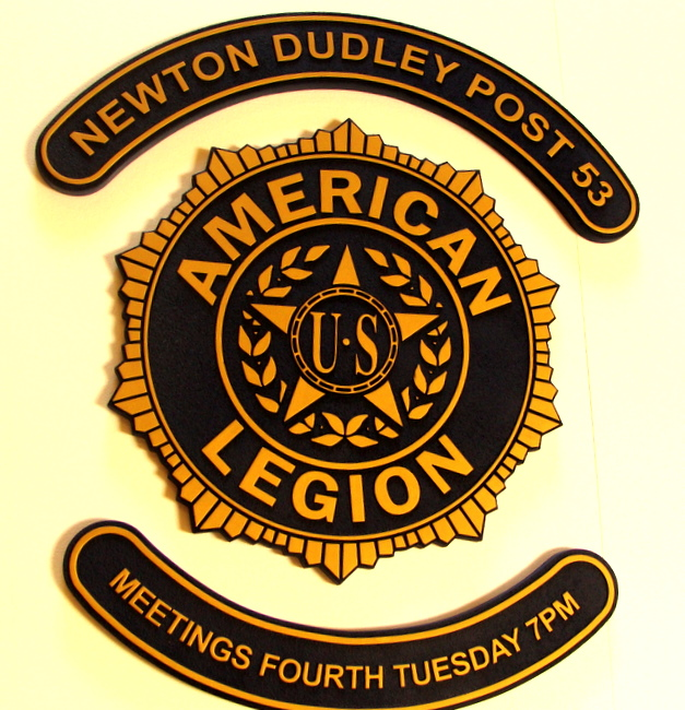 V31183 - American Legion Post Carved Wood Wall Plaque