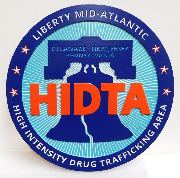 AP-2546 - Carved Plaque of the Seal of the Liberty Mid-Atlantic  High-Intensity Drug Trafficking Area  (HITDA) , DEA