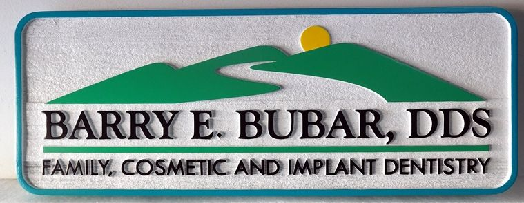 BA11547 - Carved, High Density Urethane Sign for Family Cosmetic and Implant Dentistry