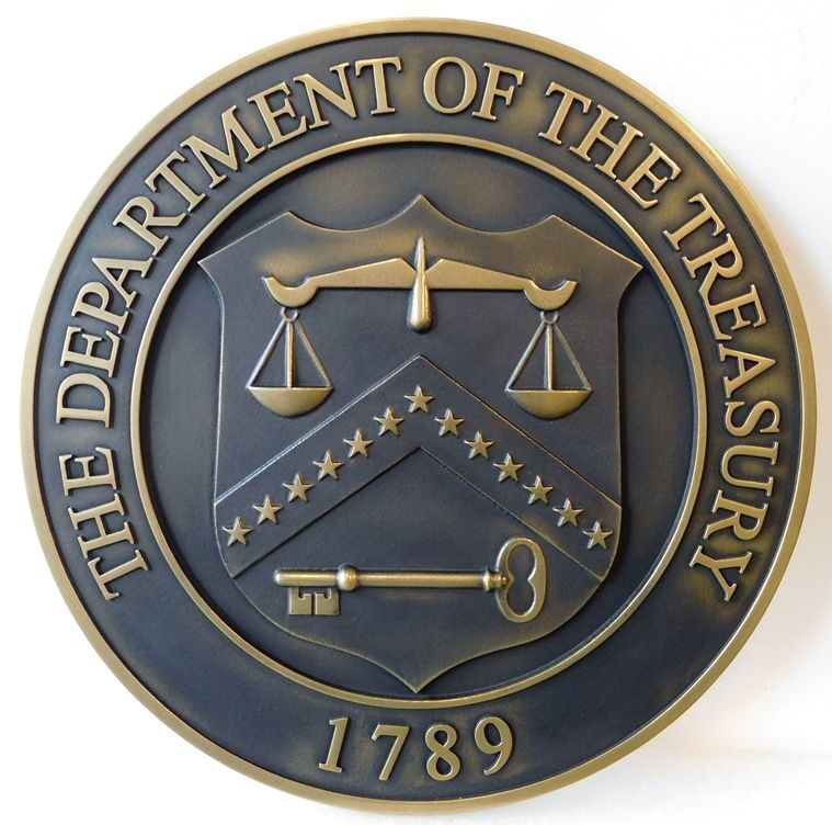 U30180 - Department of the Treasury Seal Carved 3-D Brass-Plated Wall Plaque, with Dark Bronze Patina
