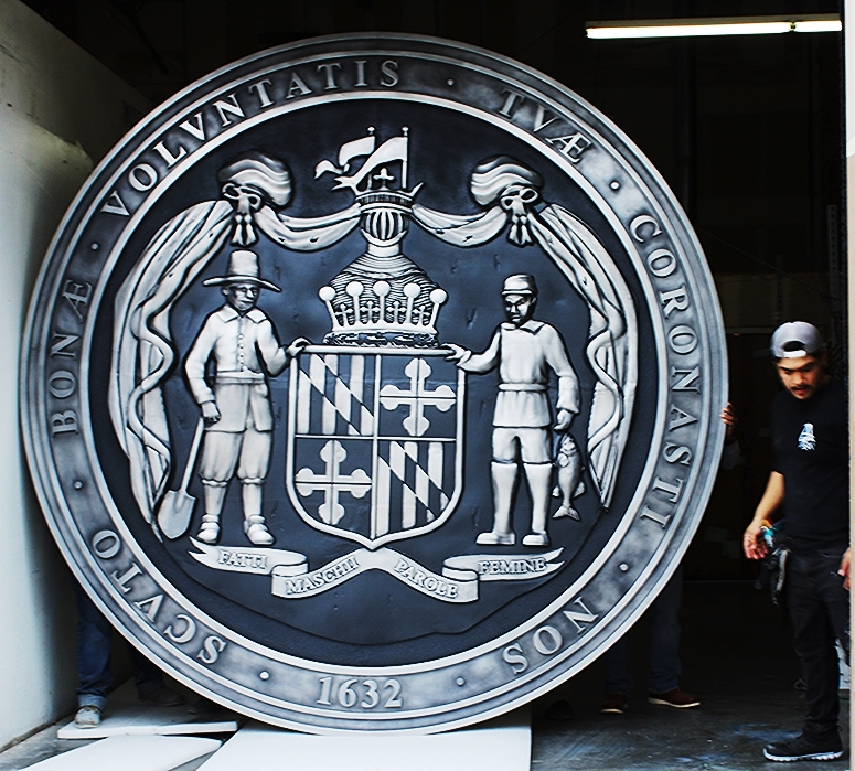 BP-1257- Large Carved Outdoor Plaque of the Great Seal of the State of Maryland, Aluminum-Plated with Dark Gray Hand-Rubbed Paint  Background