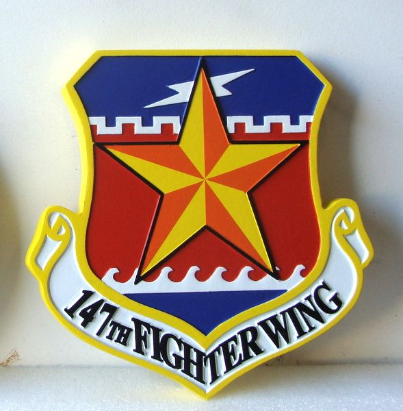 V31587 - Carved Wooden Wall Plaque for the Shield and Crest of the 147th Fighter Wing, USAF