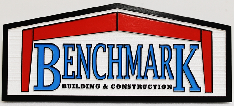 S28172 - Carved Sign  for the Benchmark Building & ConstructionCompany with Logo as Artwork
