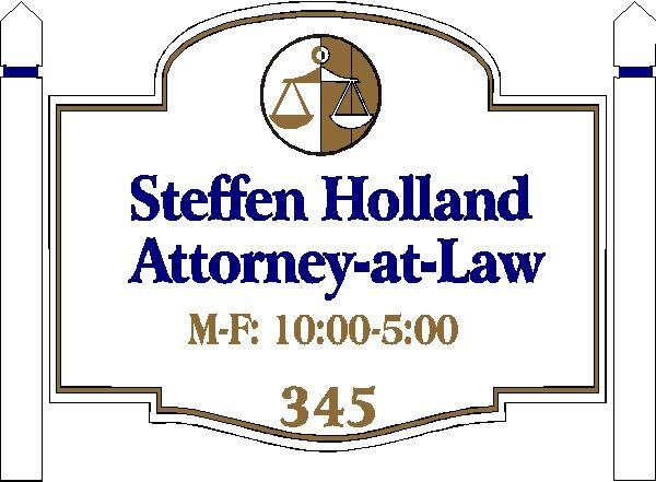 A10120 - Attorney Wood Sign with Wood Posts
