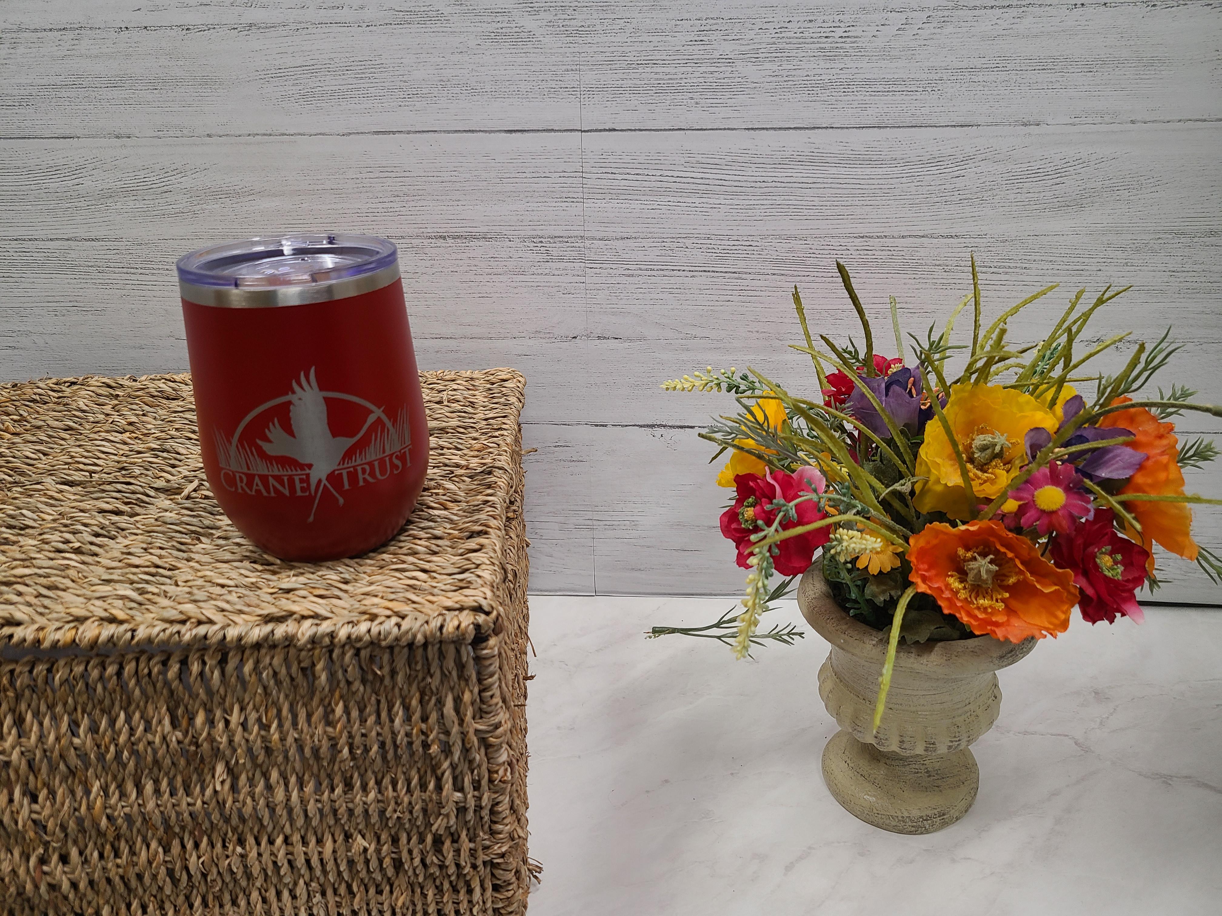 Red 12 oz Travel Mug with Crane Trust Logo