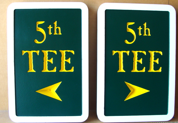E14233  – Carved and Engraved HDU Wayfinding Signs showing Exit for Golf Club
