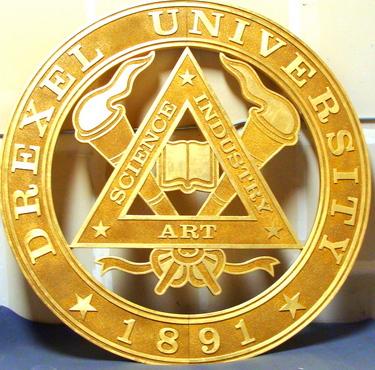 M7325 - Large Gold-Leaf Gilded Wall plaque for Drexel University