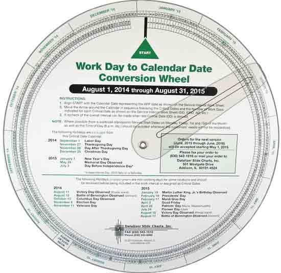 "9-1/2"" Work Day to Calendar Date Conversion Wheel"