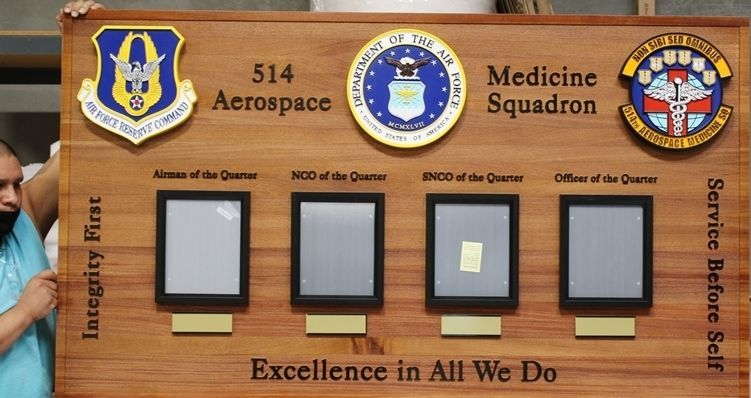 SB-1025 - Carved Redwood  Award Photo Board for Outstanding Personnel of the 514th Aerospace Medicine Squadron
