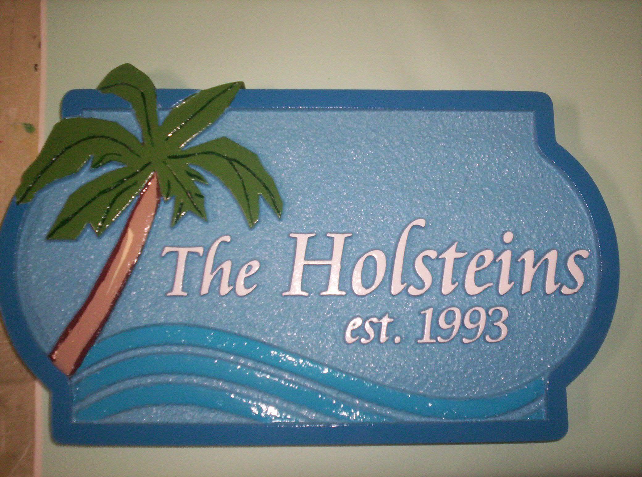 I18348 - Sandblasted Palm and Surf Address Sign
